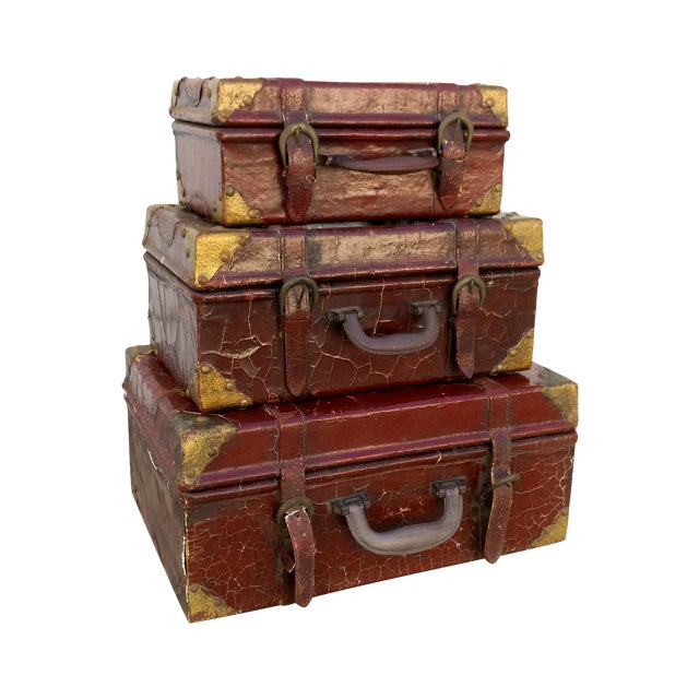 Weathered Ox Blood Nesting Trunks - Set of 3 - Image 1 of 11