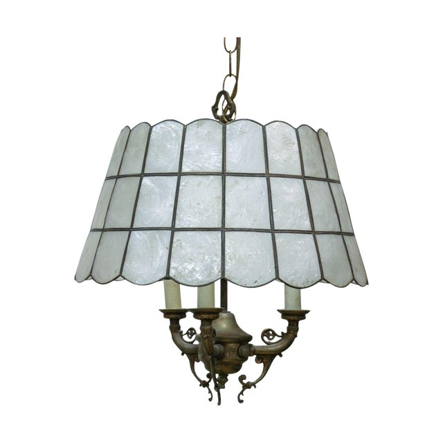Faux Slag Glass Hanging Lamp on Chain - Image 1 of 3