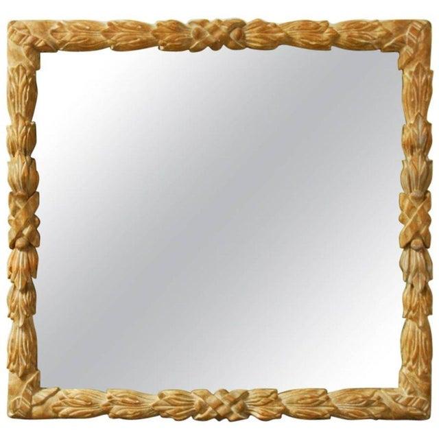 Monumental Hand-Carved Laurel Leaf Wood Mirror - Image 1 of 6