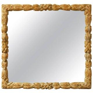 Monumental Hand-Carved Laurel Leaf Wood Mirror