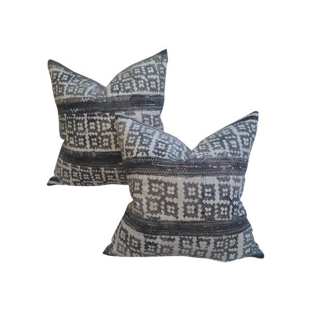 Yao Cross Batik Pillows - A Pair - Image 1 of 5