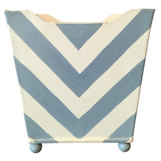 White and Blue Chevron Metal Planter
