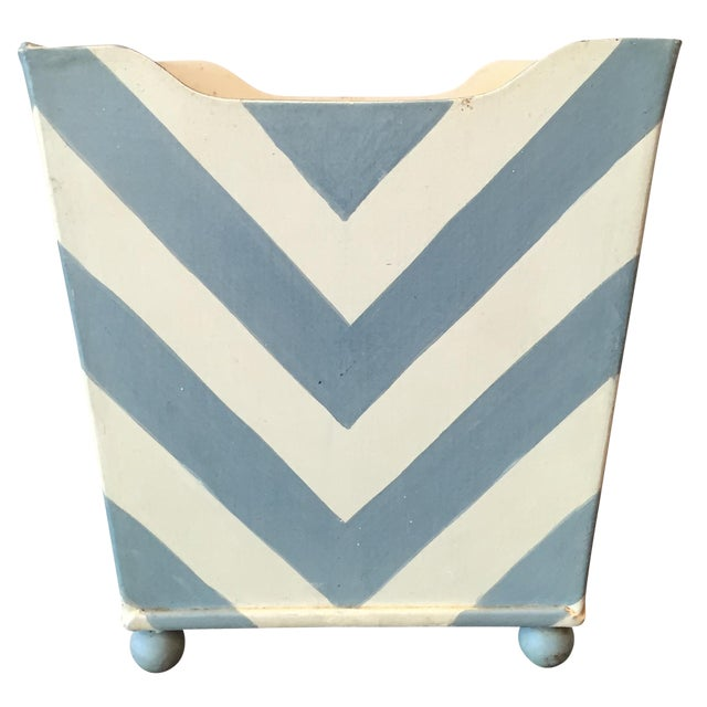 White and Blue Chevron Metal Planter - Image 1 of 6