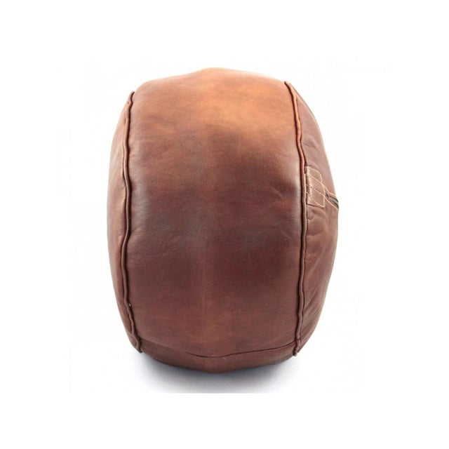 Brown Moroccan Leather Pouf - Image 4 of 6