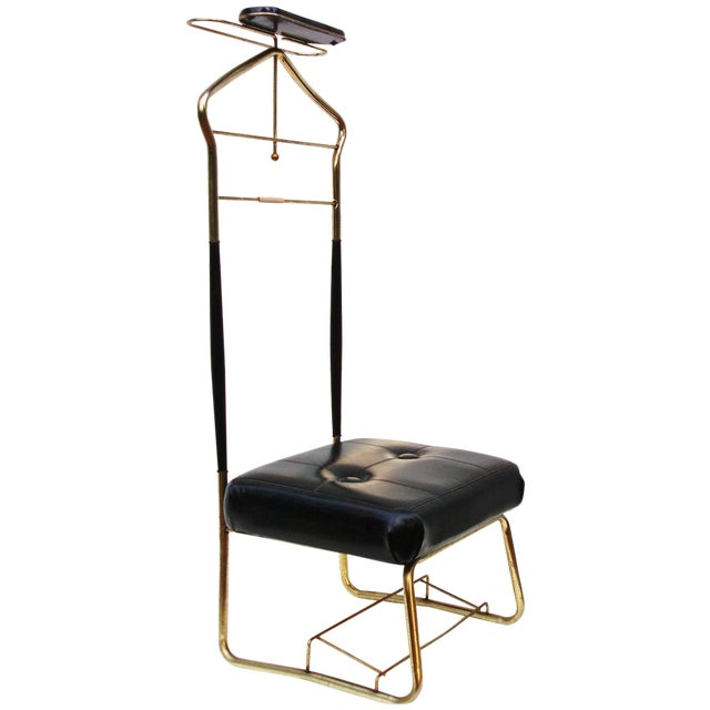 Mcm brass butler stand valet chair chairish for What does mcm the designer stand for