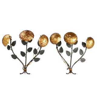 Pair of Florentine Brass and Iron Sconces