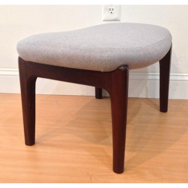 Danish Modern Upholstered Lounge Chair & Ottoman - Image 10 of 11