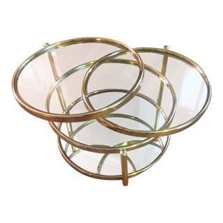 Milo Baughman Style Brass Swivel Table