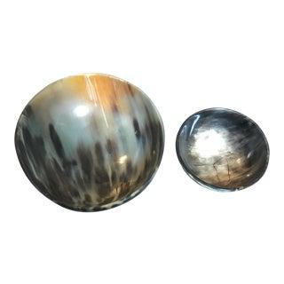 Natural Carved Horn Dish Bowls- A Pair