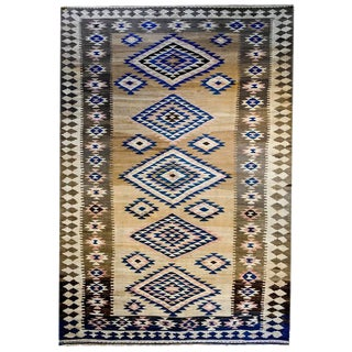 Early 20th Century Persian Lori Kilim Diamond Medallion Rug - 5′3″ × 11′8″