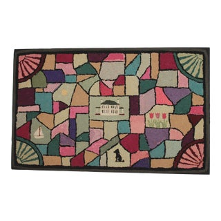 20th Century Pictorial Geometric Hooked Rug