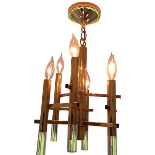 Gaetano Sciolari Brass & Lucite Pendant Light