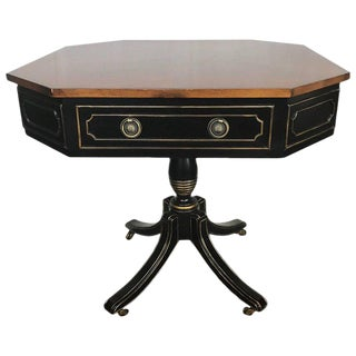 Side Table, Center Table Rent Collector's Table Ebony and Gilt Table on Wheels