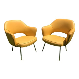 Original 1950's Vintage Eero Saarinen for Knoll Model 71 Executive Armchairs - a Pair
