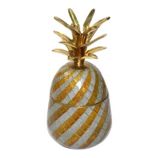 Vintage Gold Enamel & Brass Pineapple Box