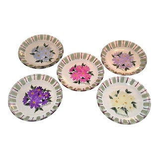 Hand-Painted Colleen Watts Floral Glass Plates - Set of 5