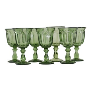 Green Glass Wine Goblets - Set of 7