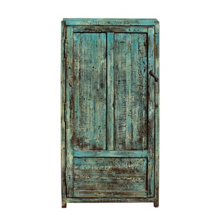 Chinese Distressed Blue & Green Iron Armoire