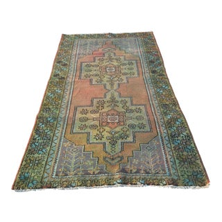 "Vintage Overdyed Turkish Anatolian Short Runner - 4'3""x8'7"""