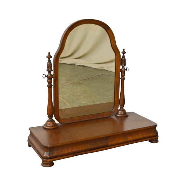Antique Victorian Walnut 2 Drawer Shaving Mirror - Image 11 of 11