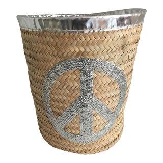 Silver Peace Sign Storage Basket