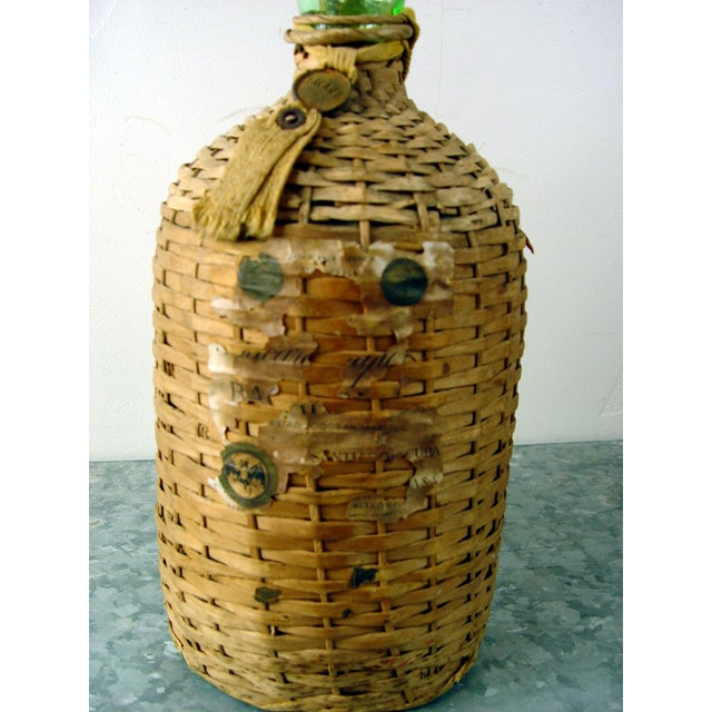 Vintage Bacardi Rum Wicker Covered Bottle - Image 3 of 5