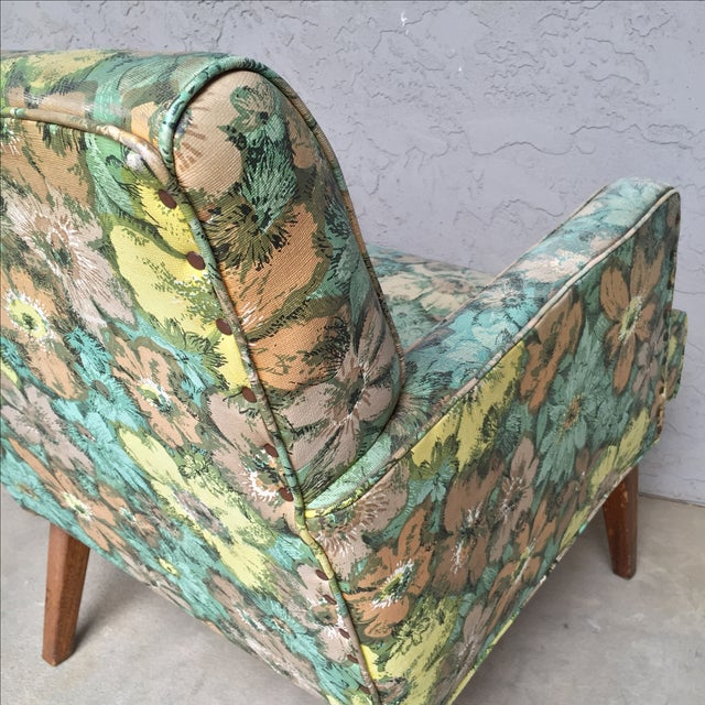 Mid-Century Floral Vinyl & Walnut Lounge Chair - Image 7 of 9