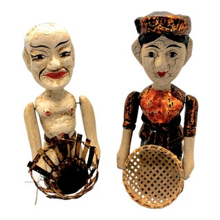 Vintage Indonesian Carved Wood Pull String Action Figurines - A Pair