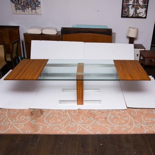 Vladimir Kagan Glass Top Extension Table in Zebrano Wood, Glass and Aluminum