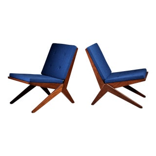 Pair of Modernist French Teak Lounge Chairs, 1950s