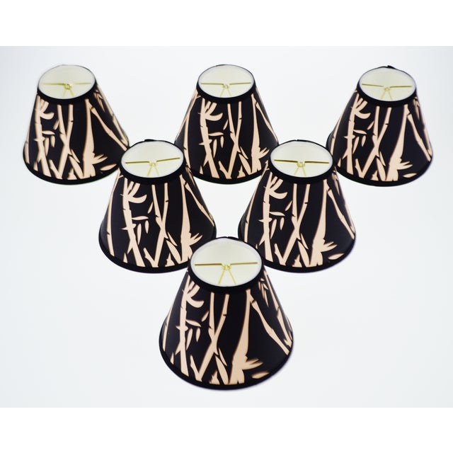 Black & Tan Bamboo Design Chandelier Shades - Set of 6 - Image 2 of 7