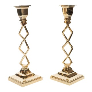 Modernist Stylized Sculptural Braided Candleholders in Brass