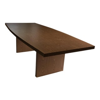 Curved Boat Shaped, Blond Colored Conference Table