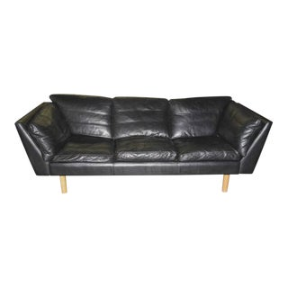 Henning Jensen Danish Modern Leather Sofa