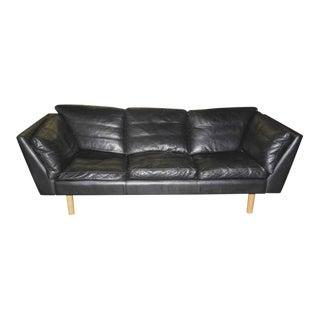 Henning Jensen Danish Modern Leather Sofa