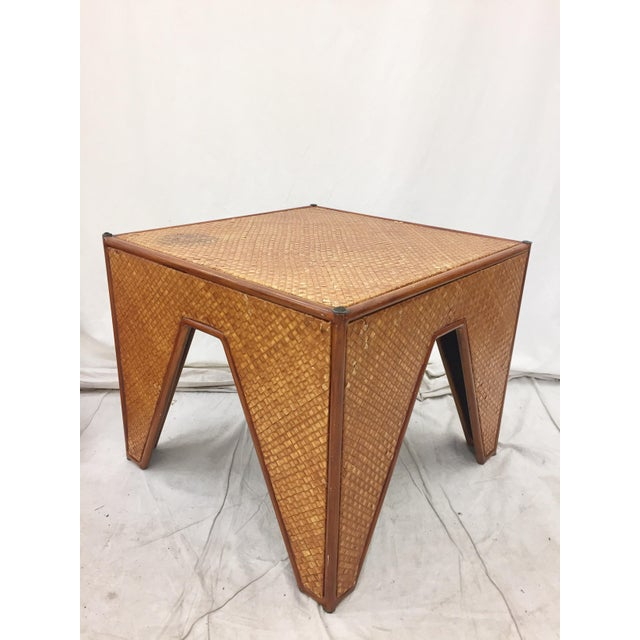 Vintage Woven Side Table & Stacking Ottomans - Set of 5 - Image 5 of 7