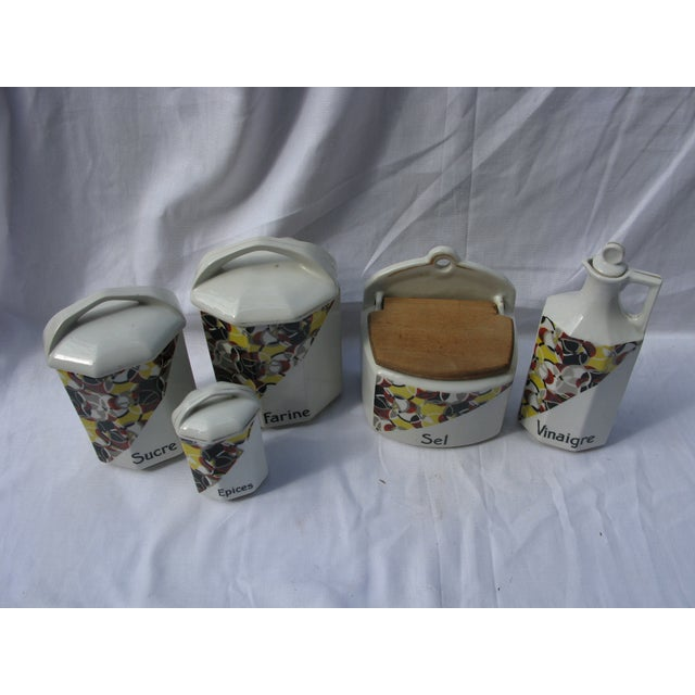 French Art Deco Porcelain Canisters - Set of 5 - Image 2 of 3
