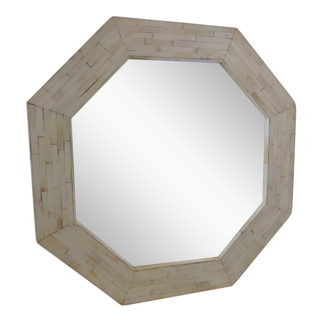 Image of Patterned Bone Inlay Octagon Mirror
