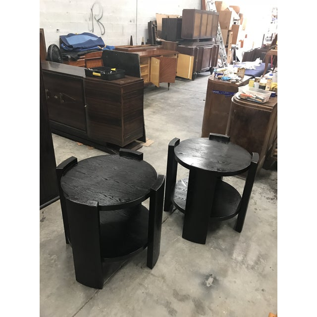 French Art Deco Solid Ebonized Cerused Oak Coffee Tables - A Pair - Image 4 of 11