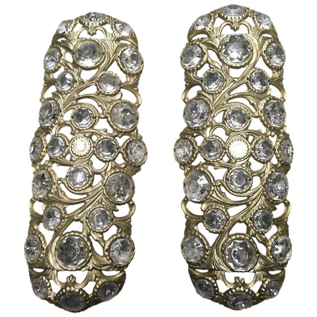 1970s Italian Bronze Sconces Embellished with Crystals - a Pair - Image 1 of 4