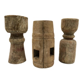 Primitive Salvaged Wood Candle Holders - Set of 3