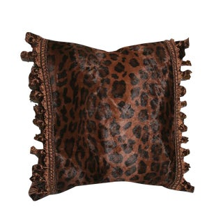 Vintage Cheetah Pillow With Tassel Fringe