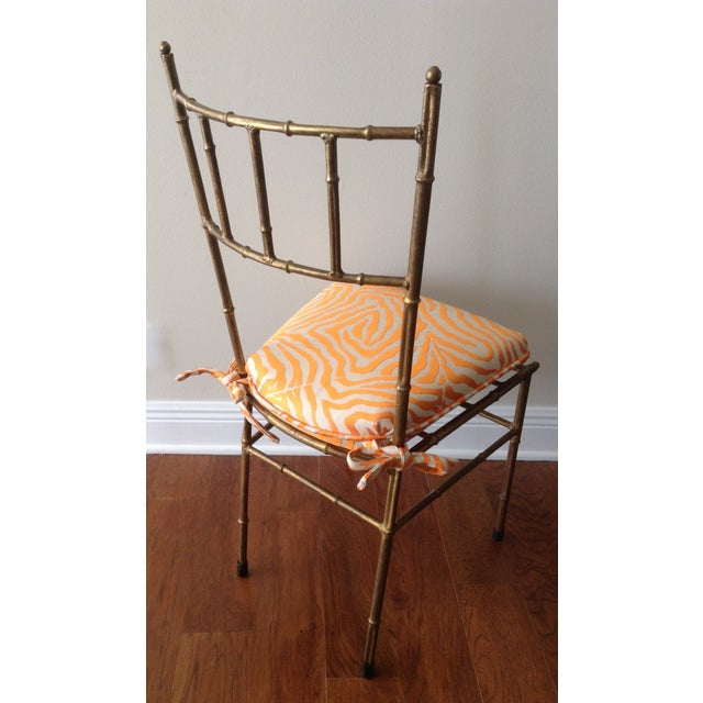 Italian Gilt Metal Faux Bamboo-Style Chair - Image 4 of 7