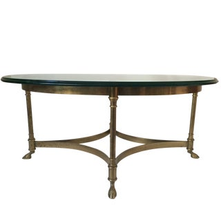 La Barge Brass Hoof Feet Coffee Table