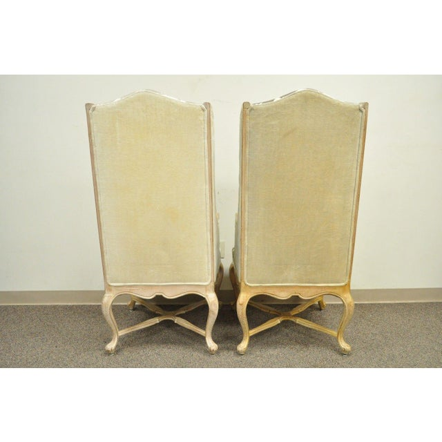 Hollywood Regency French Country Carved Wingback Chairs - A Pair - Image 7 of 11