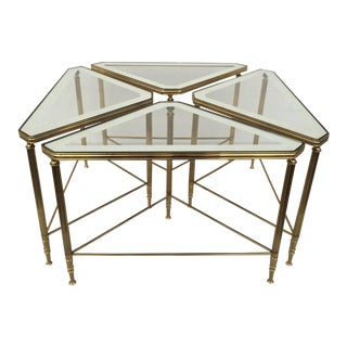 Brass and Glass Tables by Maison Jansen - Set of 4