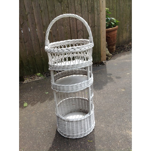 Vintage White Wicker Tiered Stand - Image 2 of 3