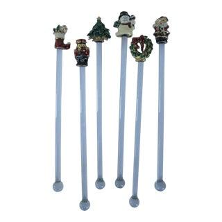 Vintage Christmas Swizzle Sticks - Set of 6