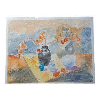 1990s Laurel Tablescape Watercolor Painting