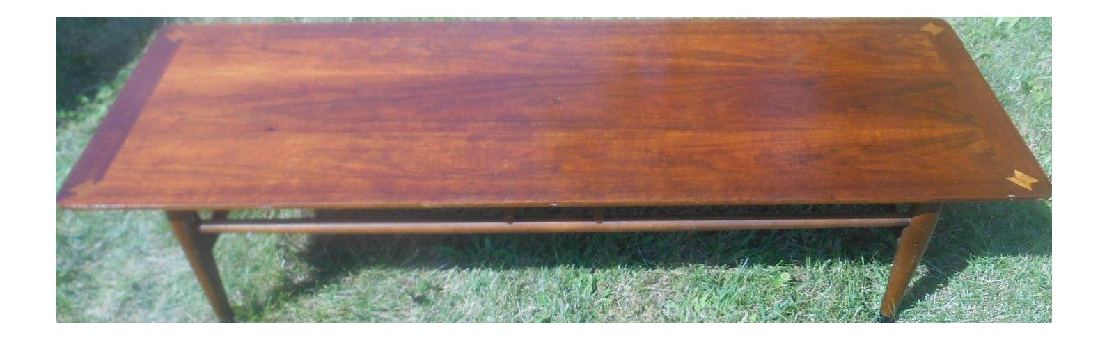 1960s Vintage Lane Walnut Surfboard Coffee Table